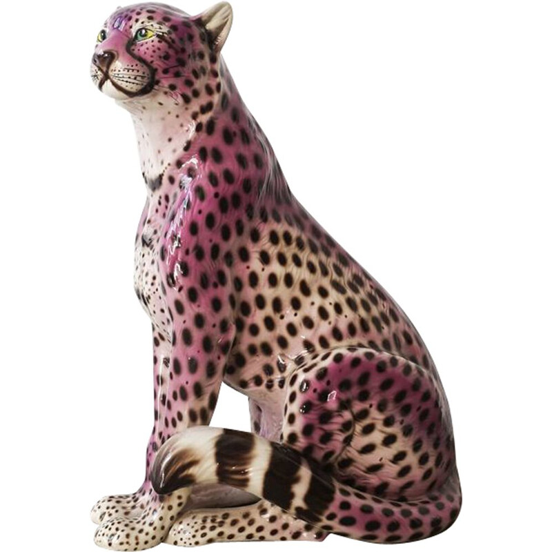 Vintage Purple Ceramic Leopard Sculpture, Portuguese 1970s