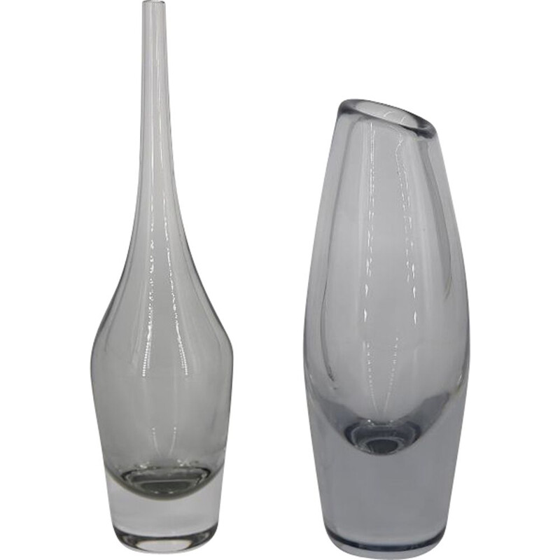 Vintage Glass Vase with Slim Neck, Scandinavian 1960s