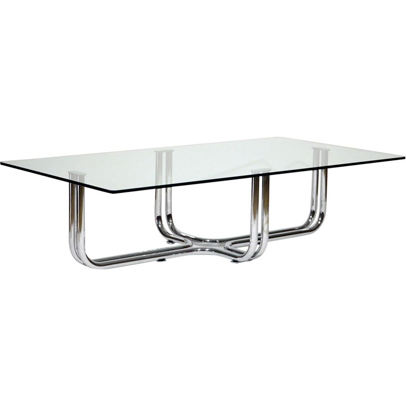 Vintage Coffee Table In Chromed Metal And Glass by Gianfranco Frattini, Italian 1970s