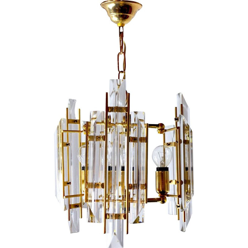 Vintage Venini 3 arms chandelier in Murano glass, Italy 1970s