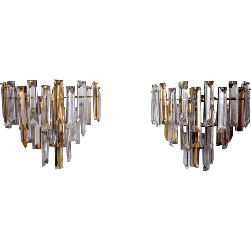 Pair of vintage Paolo Venini two-tone sconces, Italy 1970s