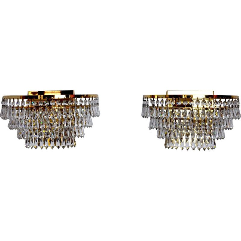Pair of vintage Regency sconces with cut crystals 1980s