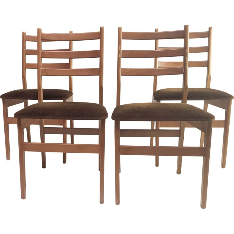 Set of 4 vintage dining chairs 1970s