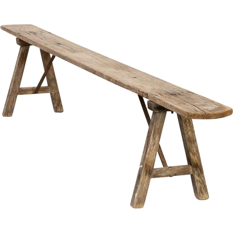 Vintage organic shaped wooden bench 1950s