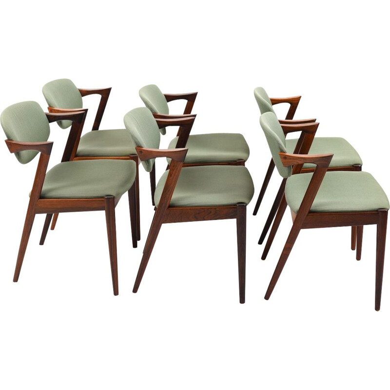 Set of 6 vintage Model No.42 Z-Chairs by Kai Kristiansen 1960s
