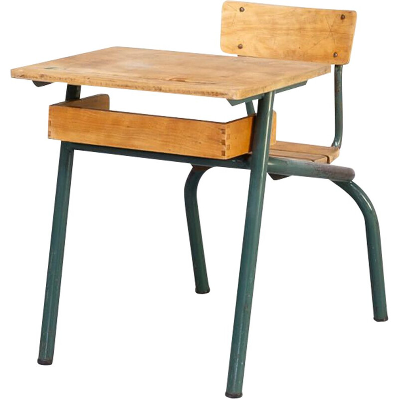 Vintage Metal and wooden schoolbench 1950s