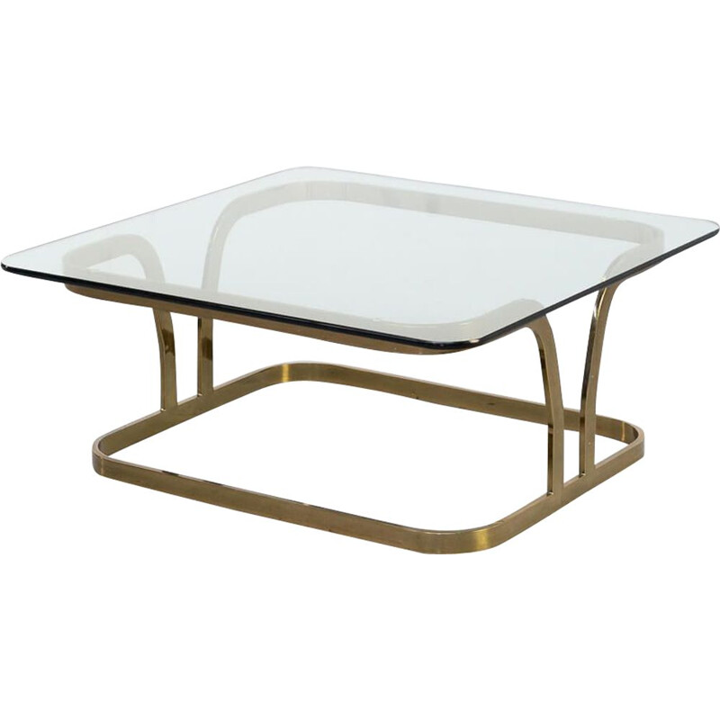 Vintage Brass square and glass coffe table 1970s