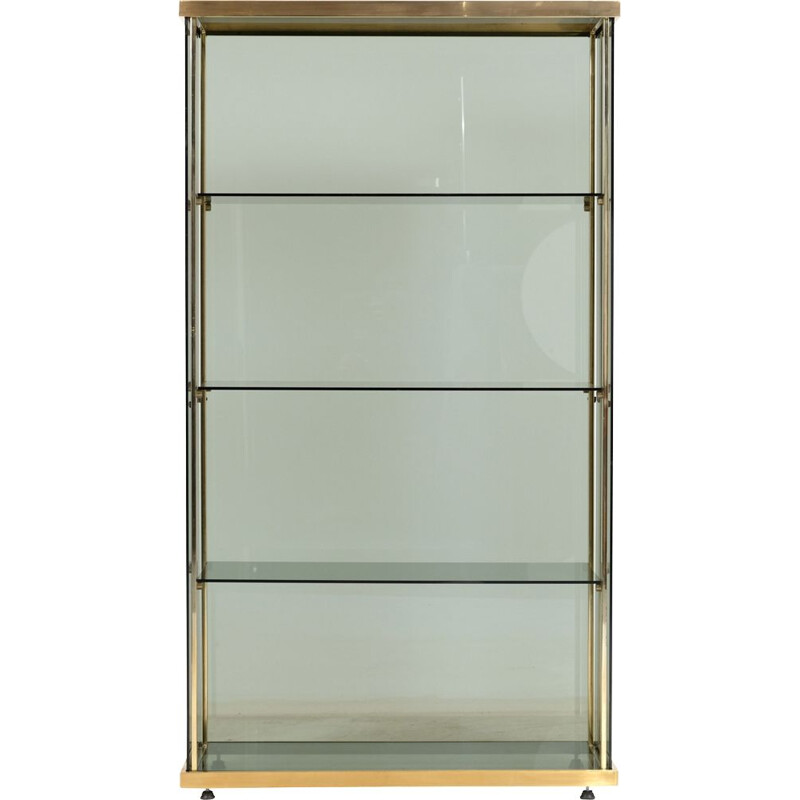 Vintage glass and brass bookcase 1960s