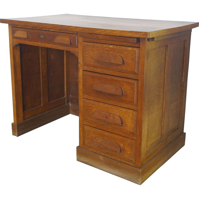 Vintage oak desk, French 1940s