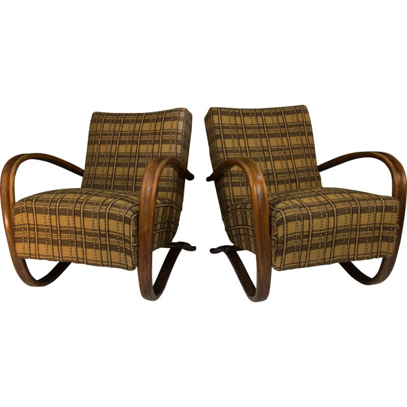 Pair of vintage Art Deco Armchairs H 269 by Jindrich Halabala 1940s