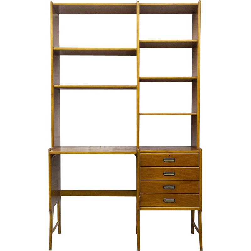 Vintage Teak Desk with Bookcase 1950s