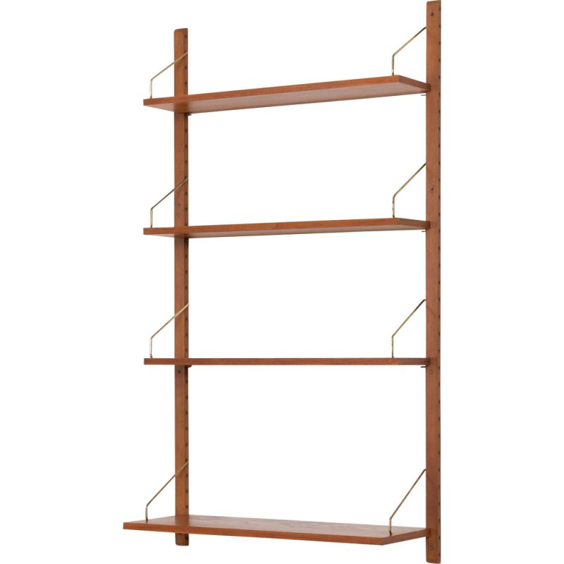 Vintage wall unit shelving with 4 shelves by Poul Cadovius, Danish 1960s