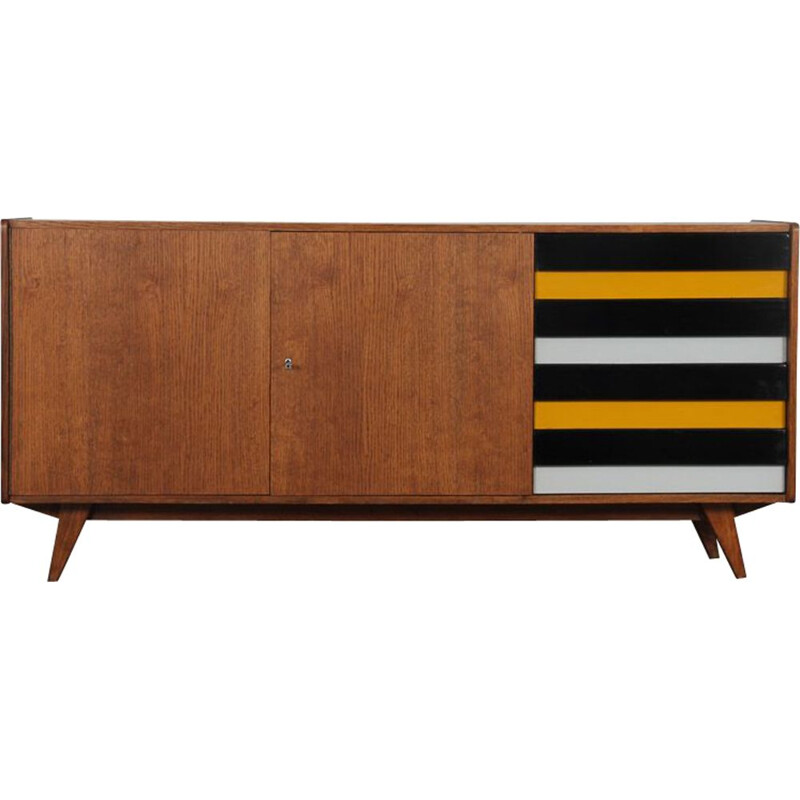 Vintage wooden sideboard with yellow and black drawers by Jiri Jiroutek 1960s