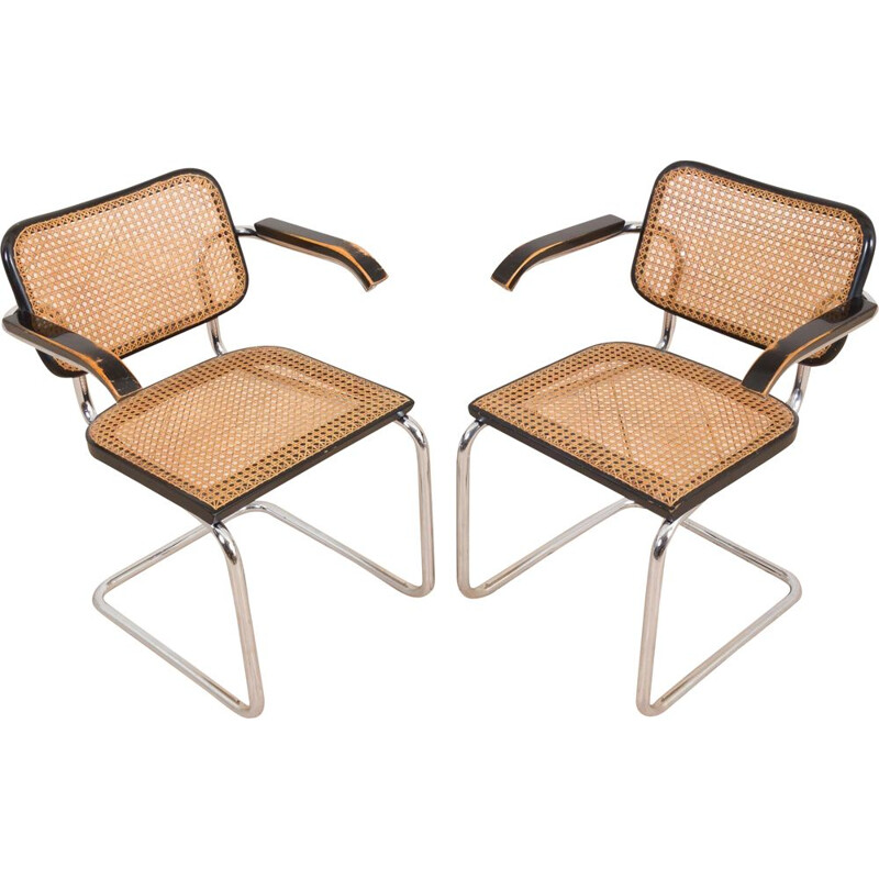 Pair of vintage B64 Cesca Armchairs with armrests by Marcel Breuer for Gavina 1970s