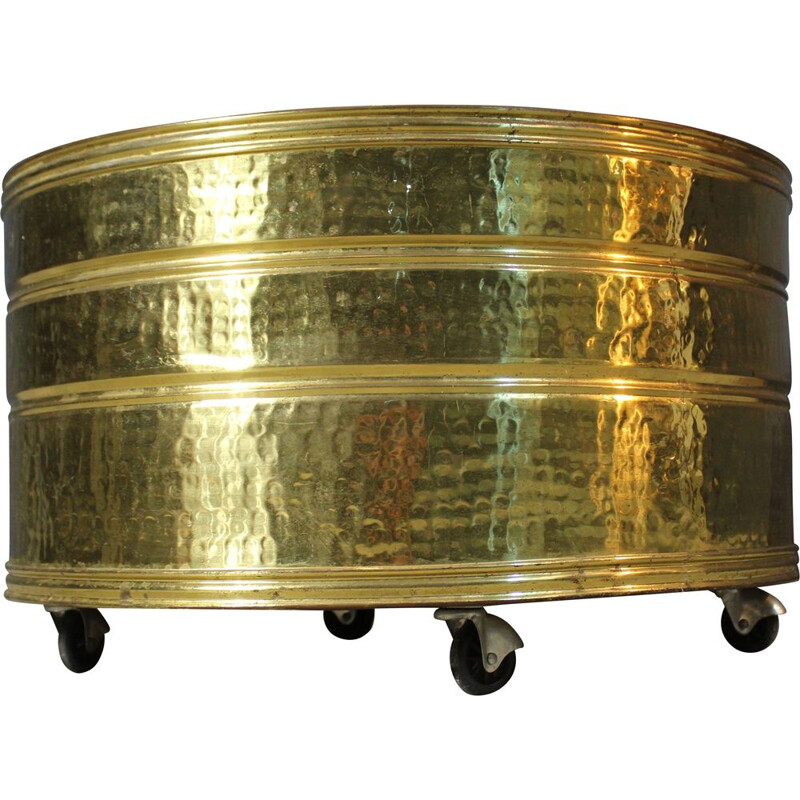 Vintage round brass vase holder, Italy 1970s