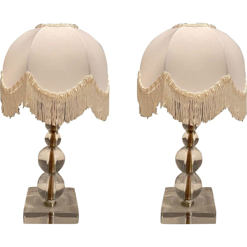 Vintage Glass Table Lamps 1970s