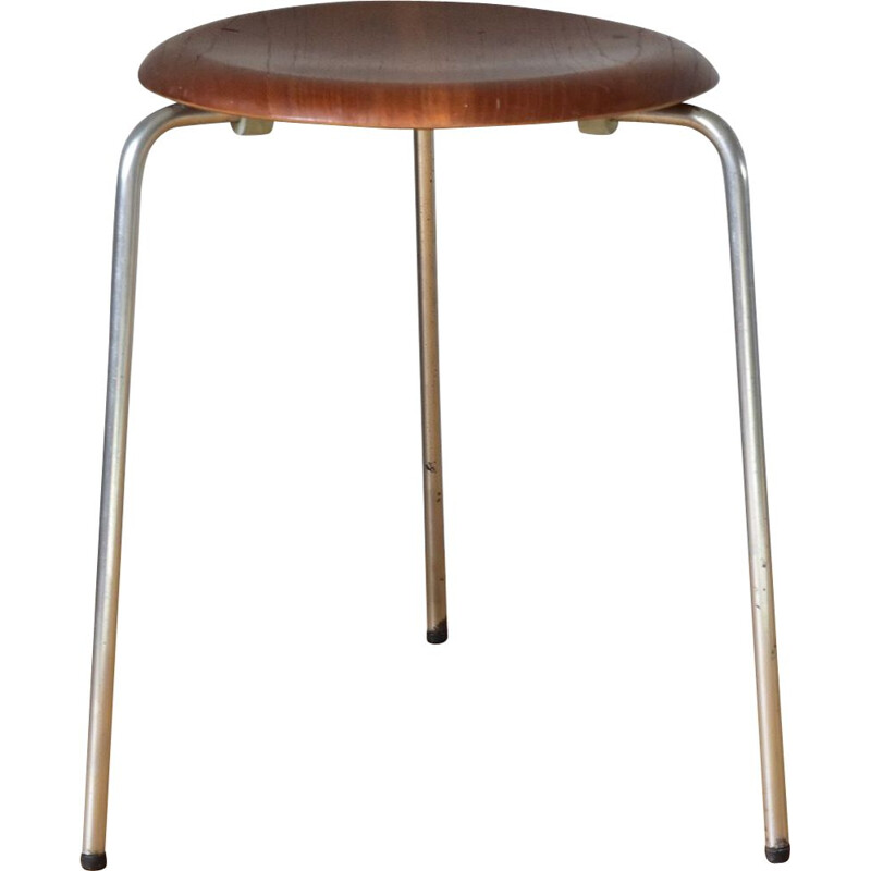 Vintage 3 Dot stool in teak and metal by Arne Jacobsen for Fritz Hansen 1950s