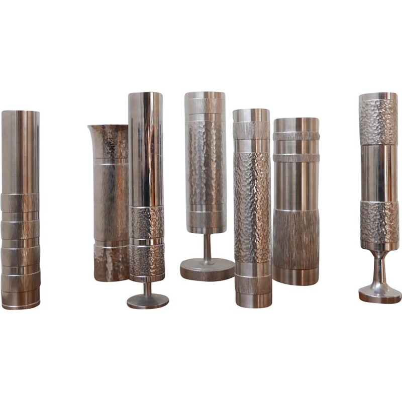 Set of 7 vintage modernist metal vases Collection n 2, German 1970s