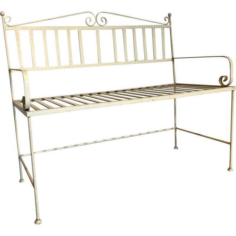 Vintage Wrought iron garden bench in white color, Italy 1970s