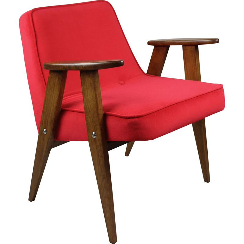 Vintage Red Velvet 366 Lounge Chair by Józef Chierowski 1970s