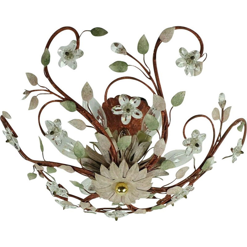 Vintage ceiling fixture florentine lamp metal crystal glass blossoms hollywood regency, Italy 1970