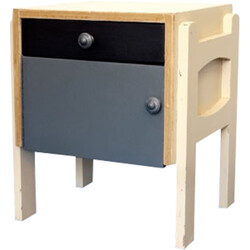 Nightstand in cream and grey lacquered solid wood - 1940s