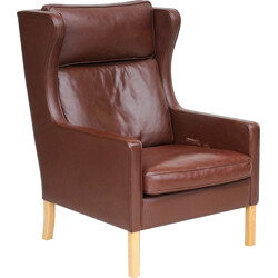 Danish Leather Wing Armchair, Mogensen in Style