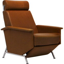 Armchair in brown leatherette, George VAN RIJCK - 1960s