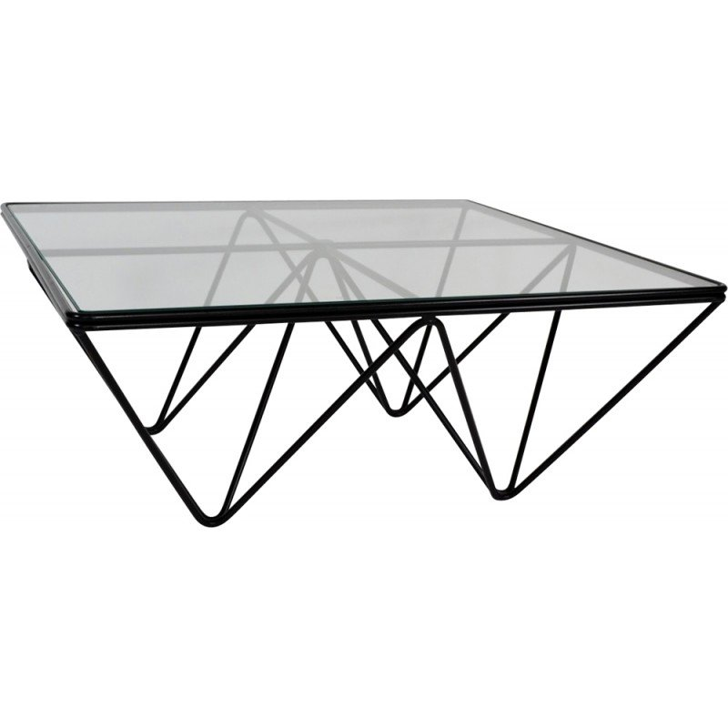 Square Alanda B Coffee Table In Steel And Glass Paolo Piva 1975