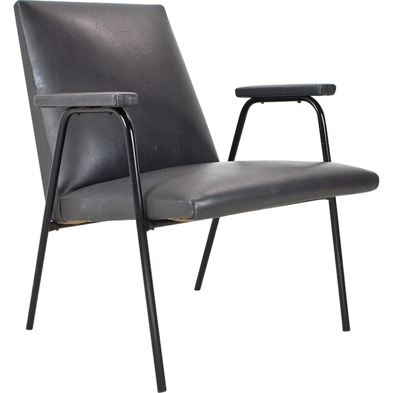 Lounge chair in leatherette and metal, Pierre GAURICHE - 1953