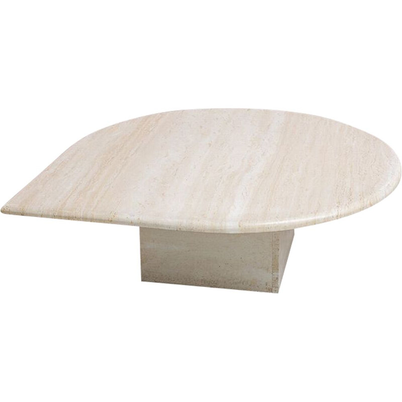 Vintage Postmodern Travertine Low Drop Coffee Table, Italy 1970s