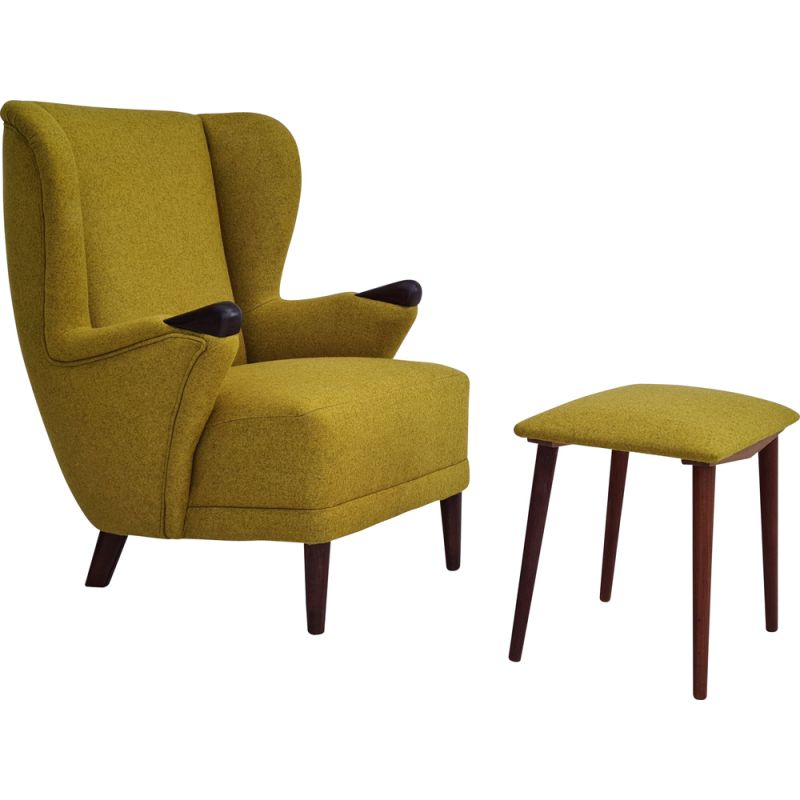 Vintage armchair with stool furniture wool, Danish 1960s