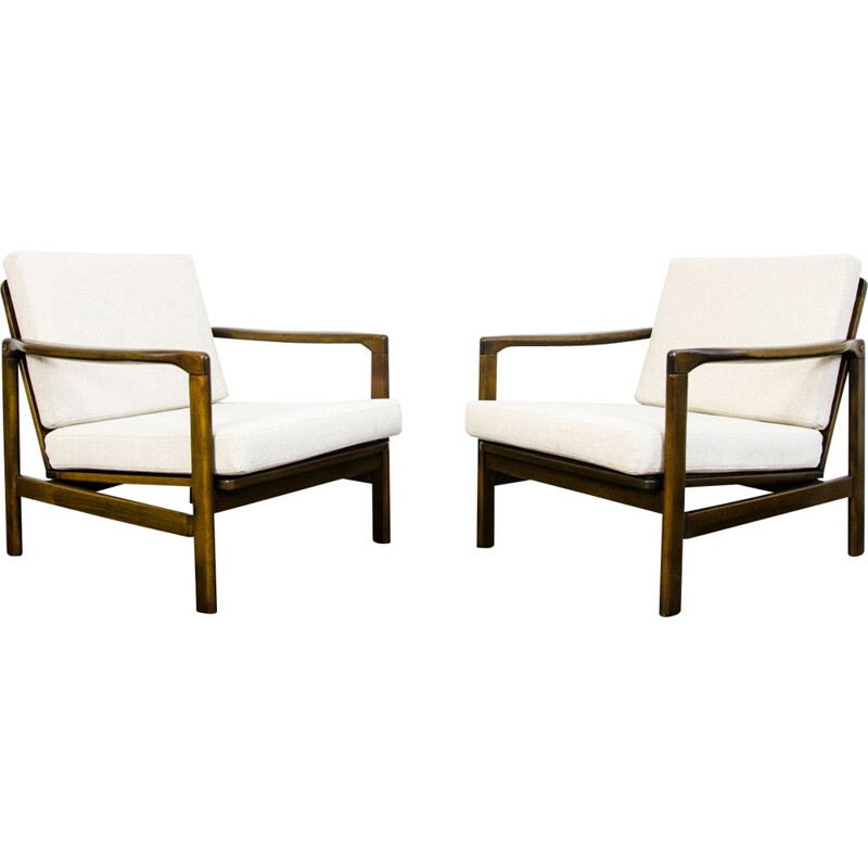 Pair of vintage B-7522 armchairs by Zenon Bączyk, Poland 1960s