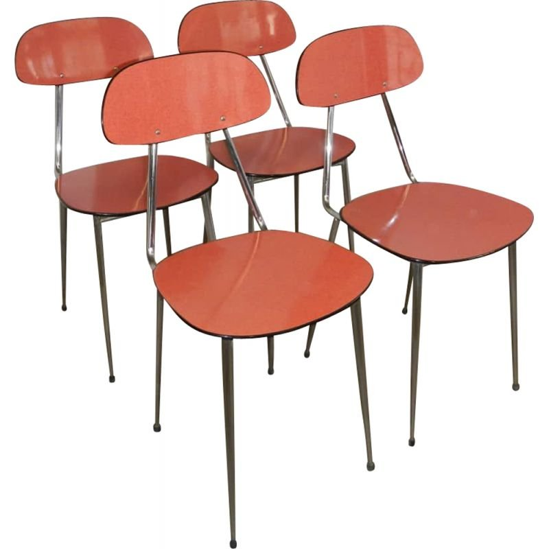 Vintage red formica chair 1970s