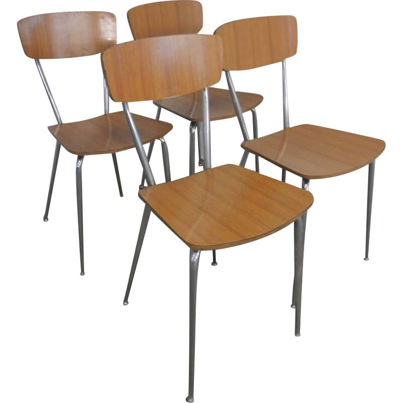 Vintage brown formica chairs 1970s