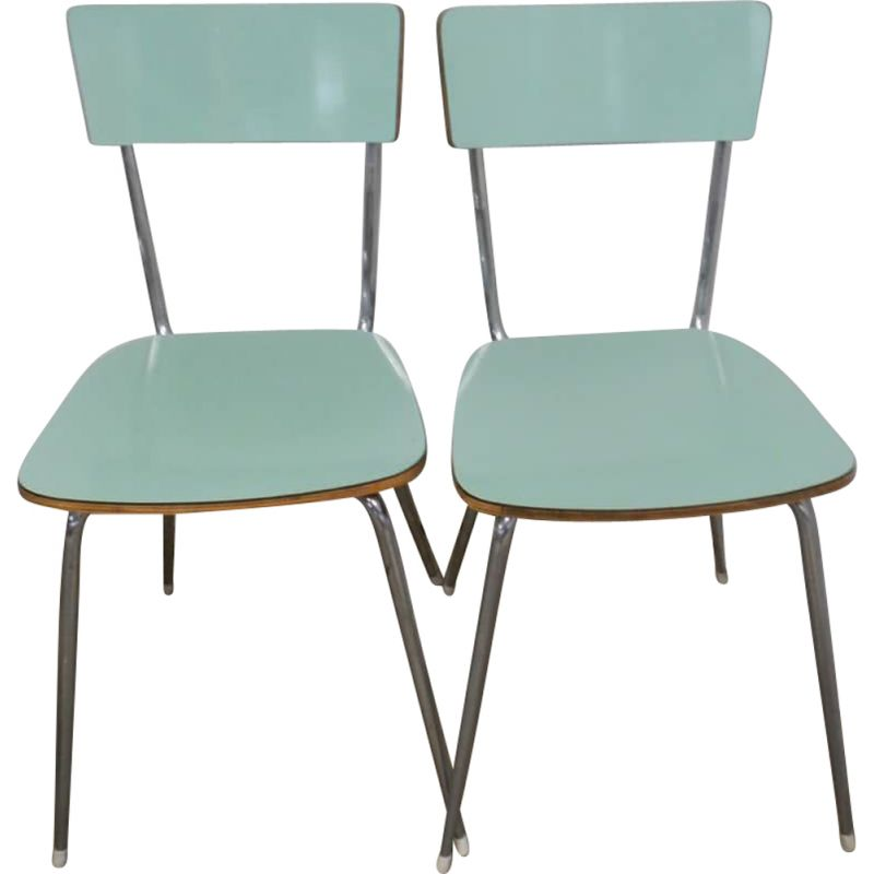 Set of 6 vintage green formica chairs 1950s