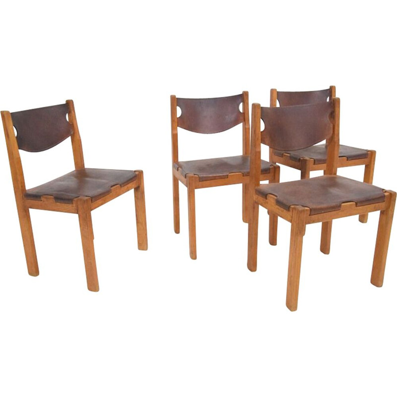 Set of 4 vintage minimalist leather chairs 1870s