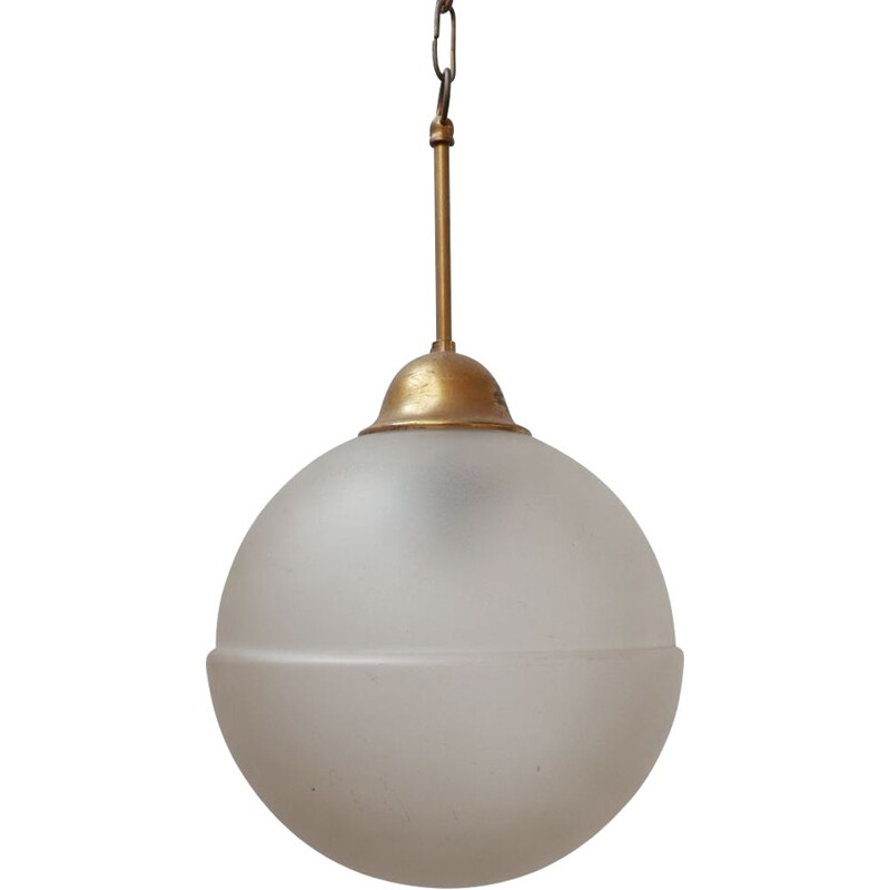 Vintage Etched Glass and Brass Pendant Light, Holland 1960s