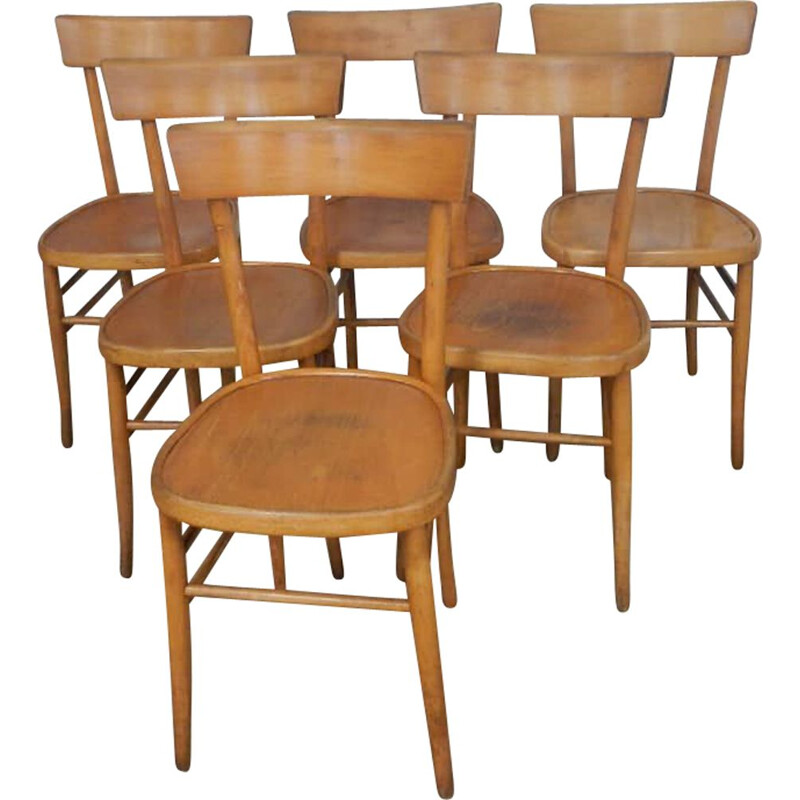 Set of vintage chairs in beech 1950s