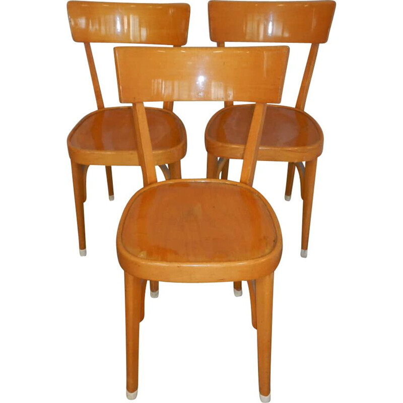 Set of 3 vintage beech chairs 1960s