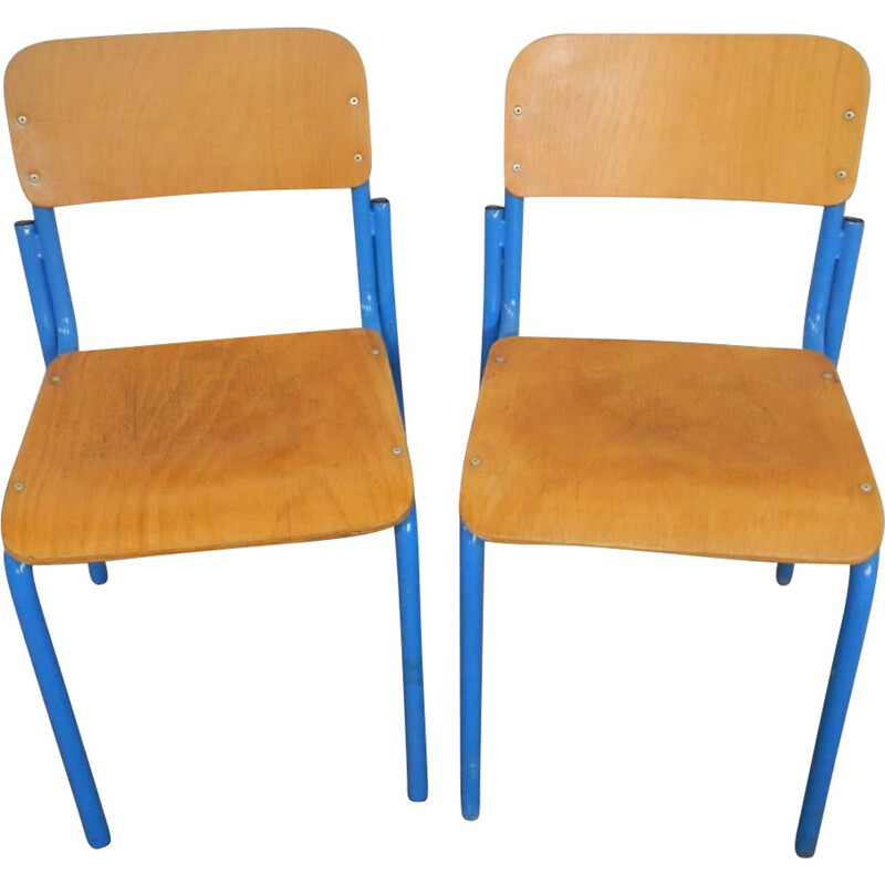 Pair of vintage set school chairs