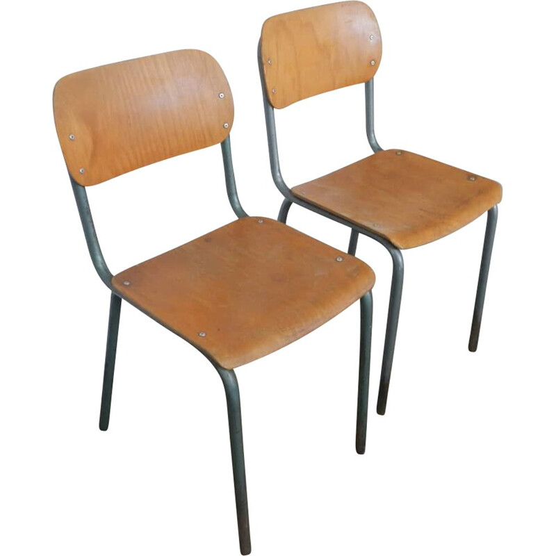 Pair of vintage school chairs