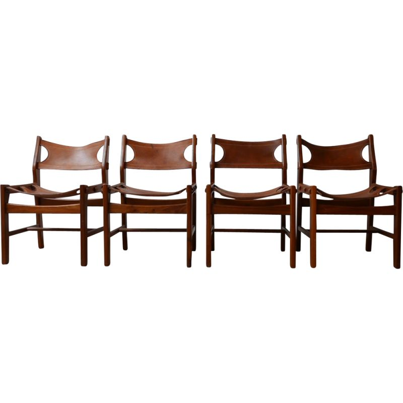 Set of 4 vintage Leather Dining Chairs Sergio Rodrigues, Spain 1960s
