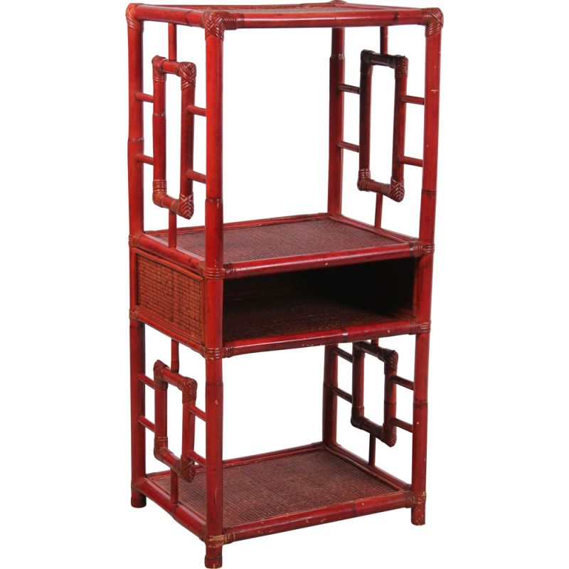 Vintage bamboo red tray or room divider, Chinese 1900s