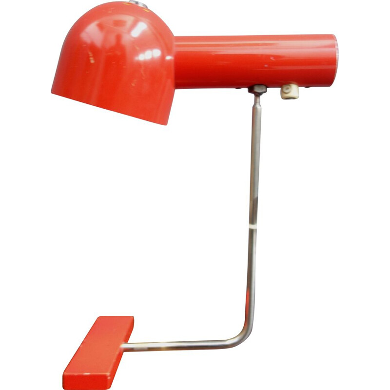 Vintage red desk lamp model 851020 by Josef Hurka for Napako, Czechoslovakia 1960s