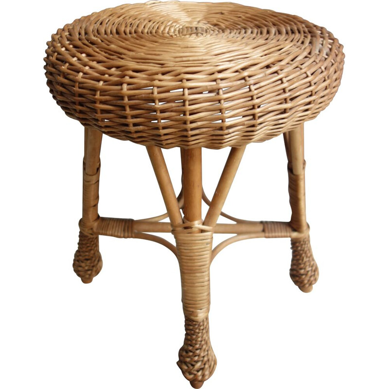 Vintage Wicker rattan round low stool