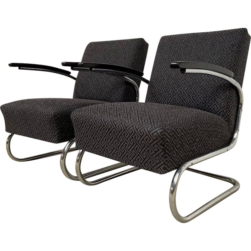 Vintage S 411 chrome tubular armchairs
