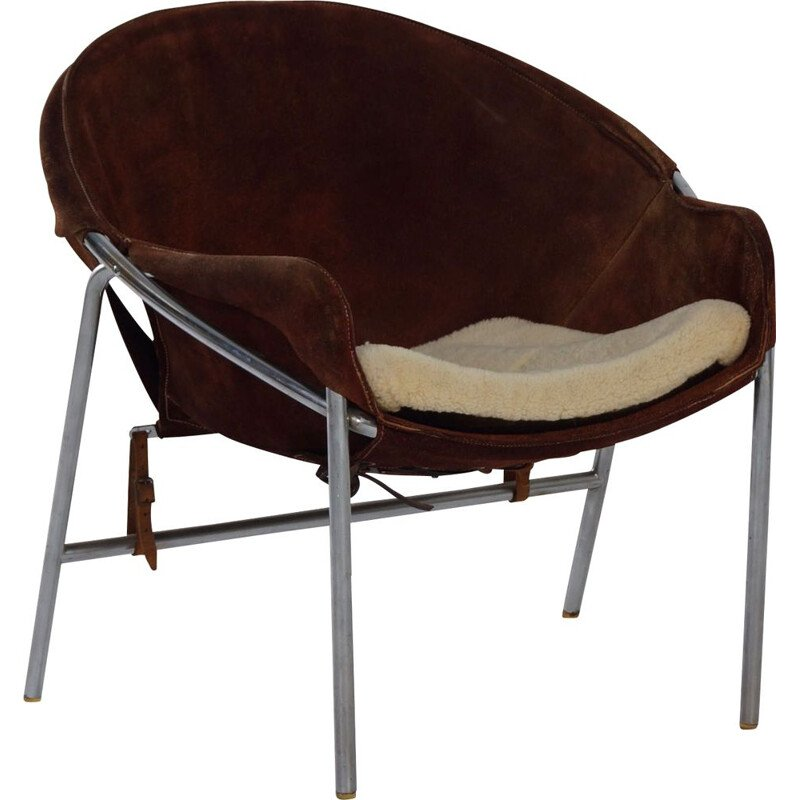 Vintage Sling Chair by Erik Jørgensen for Bovirke Brown Suede, Danish 1953s