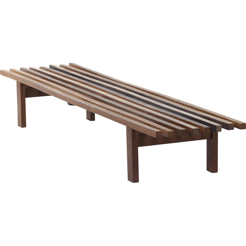 Vintage Wenge Slat Bench by Martin Visser for 't Spectrum 1960s
