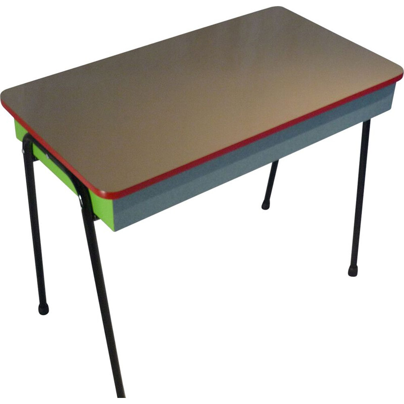 Vintage school desk with grey top
